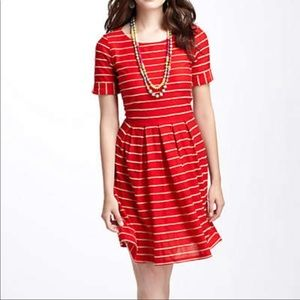 Anthro Bordeaux red scalloped striped dress